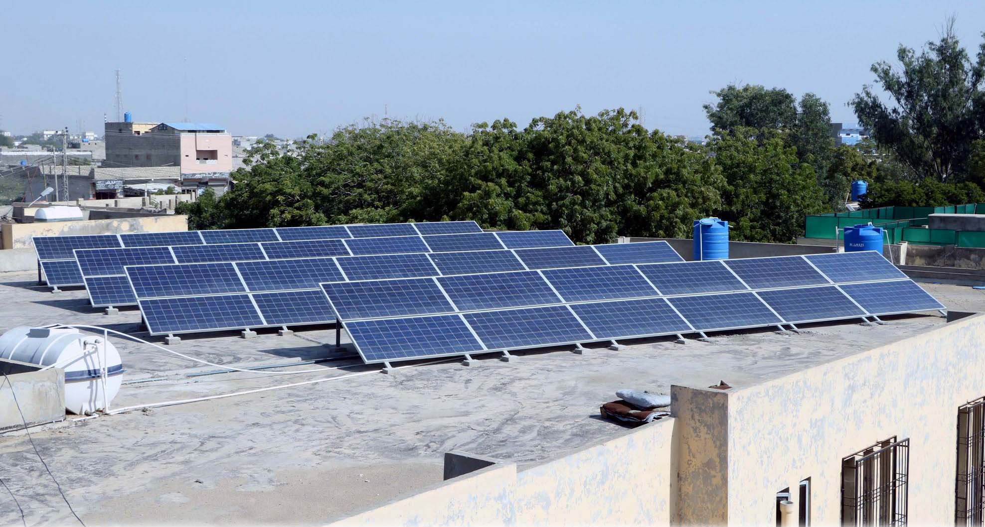Solar Panels at Roof Top of the Hospital Jam Ghulam Qadir Hospital at HUB Installed by REON ENERGY