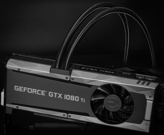 EVGA's most recent GeForce GTX 1080 Ti is fluid cooled and pressed with sensors