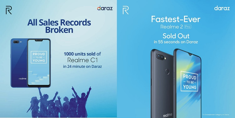 Record Breaking Realme products sold at its first sale on Daraz!