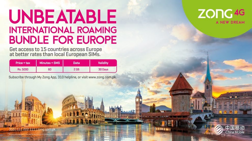 Zong 4G Introduces Continental Europe Roaming Postpaid Bundle