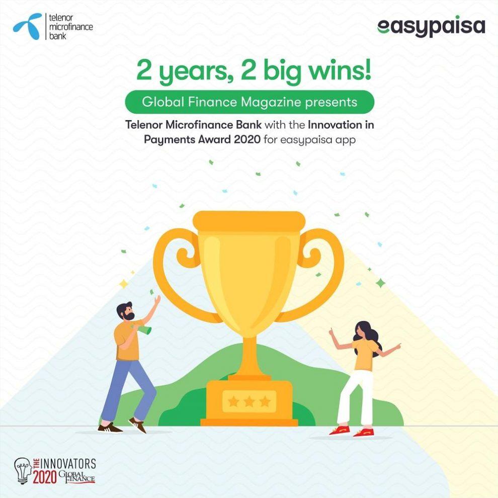 """Telenor Microfinance Bank wins """"The Innovators 2020"""" Award for Easypaisa App"""
