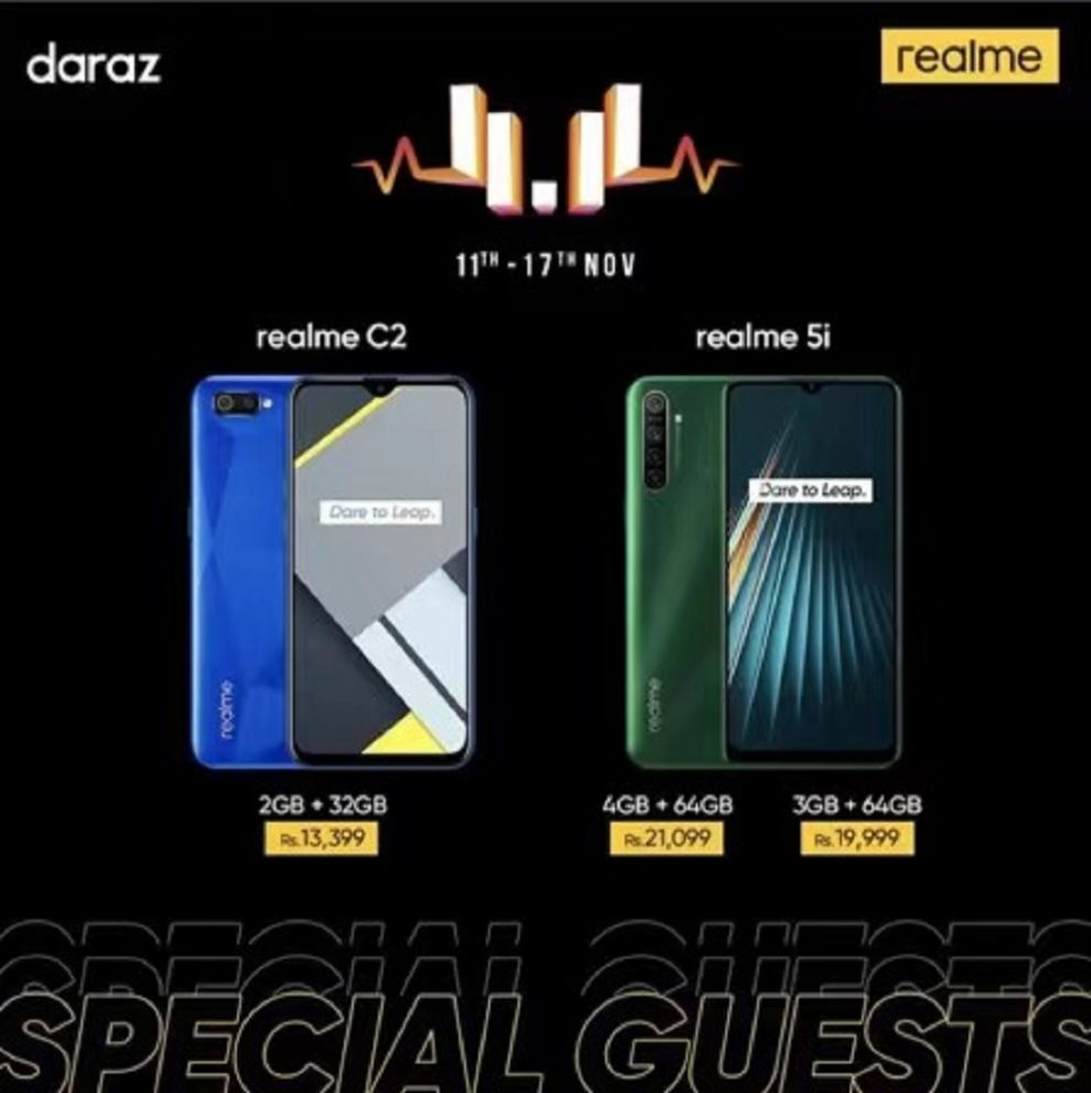 realme C2 Diamond Cut Design for Rs. 13,399 & realme 5i Quad Camera Battery King for Rs. 21,099 only on Daraz 11 11 Sale