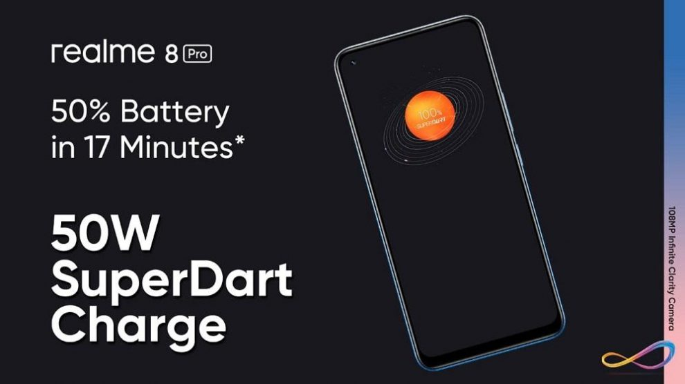 The realme 8 Series has a Battery That Gets Powered Faster with the 50W SuperDart Charge and Runs Longer